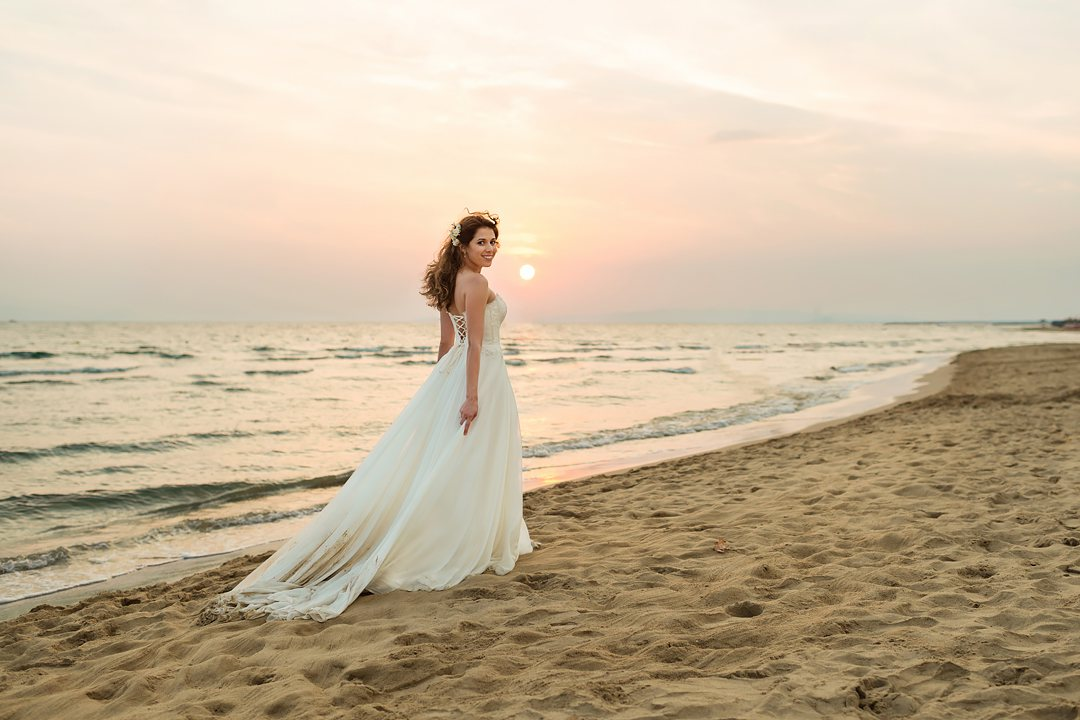 bride and sunset