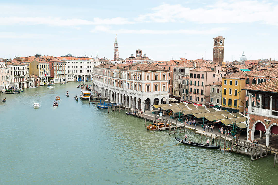 panoramic view from terrace of hotel ca sagredo on grand canal venice