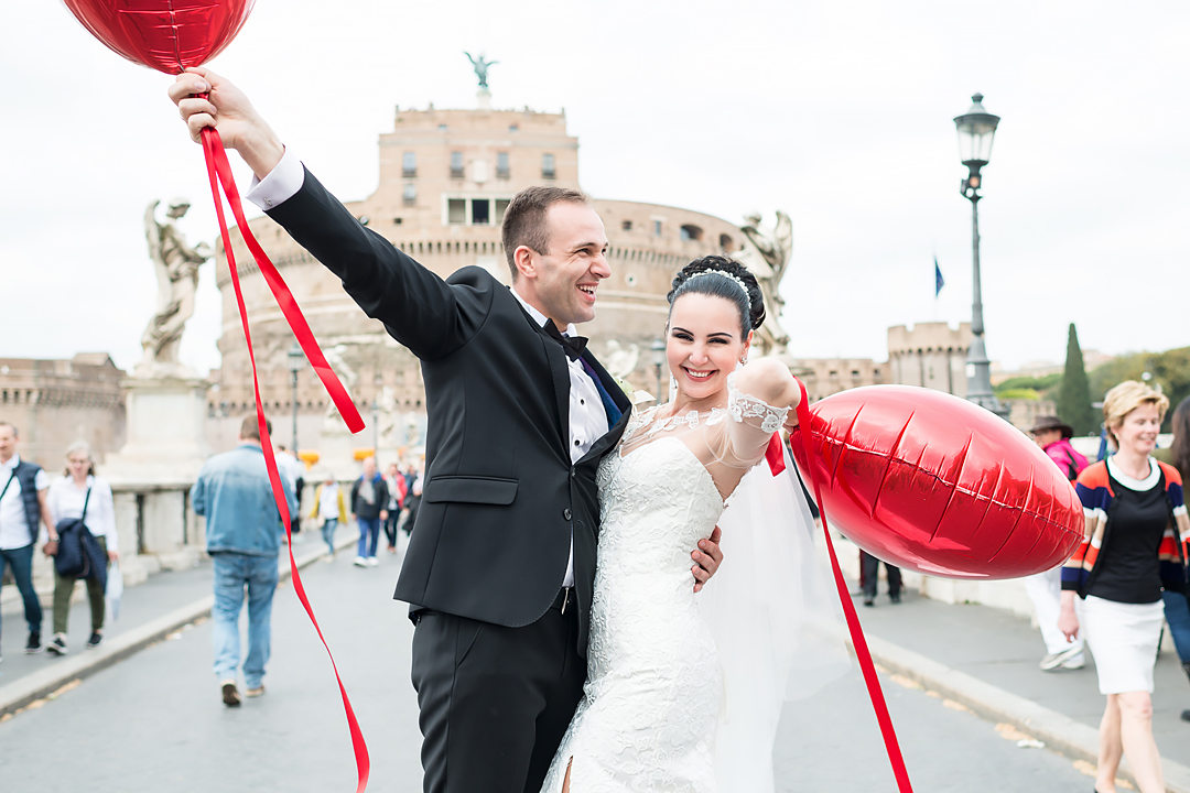 wedding photo shooting in rome castle sant angel