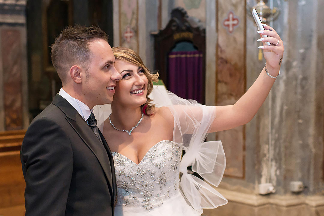 wedding selfie in curch